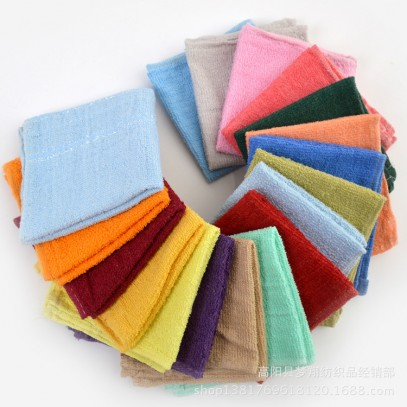"Cheap High Quality Cotton Kitchen Towel Washcloth with Satin 11""x11"" Various colors"