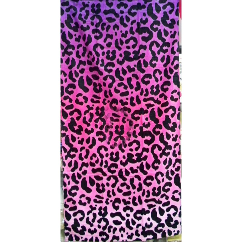 Big Pink Leopard Velour Beach Towel 30x63 Inch