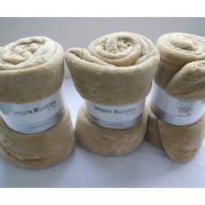 """Soft Longpile Microfiber Velvet Bed Blankets/Throws King Size 71"""" x 79"""" Light Brown"""