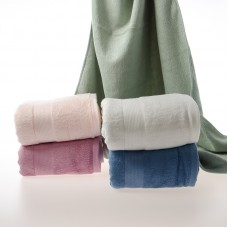 """Solid Thick Soft 100% Bamboo Bath Towels with Fancy Satin Various Colors 28""""x55"""""""