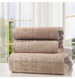 High Quality Dyed Cede Checked Towel Set (2pcs Hand Towels+1pc Bath Towel)