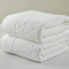 "Soft Thick Cotton Dots Embossing Hotel Bath Towel 28""x59"" 500G White/Orange"