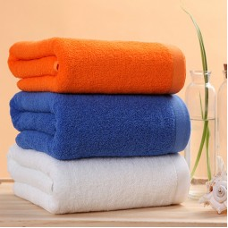 Whoiesale Cotton Hotel Bath Towels 30x71 inch White/Orange/Blue